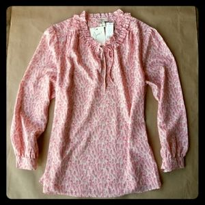 NWT Joie Long Sleeve Rose Pink Fern Shirt LG